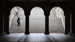 Bethesda Terrace Arch Bridge in Central Park, New York Footage