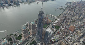 Aerial View Lower Manhattan and Freedom Tower NYC Footage