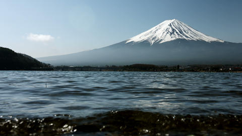 Mount Fuji from water edge Live Action