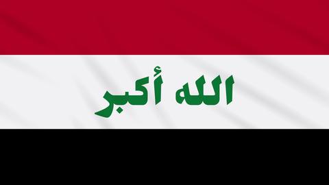 Iraq flag waving cloth background, loop Animation