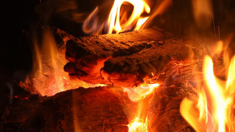 Traditional fireplace with burning wood Footage