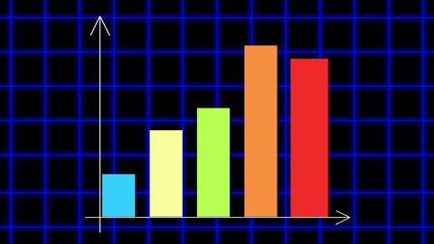 Bar chart diagram with arrows axis on animated grid background Animation