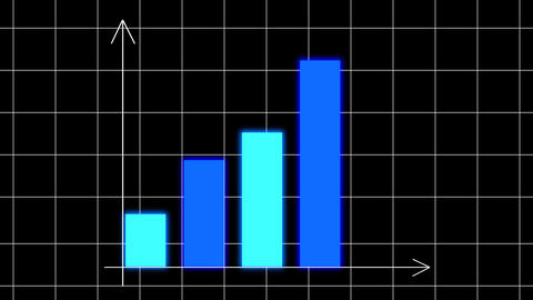 Bar chart diagram with arrows axis on animated grid background. Grow business/financial concept Animation