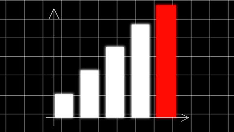 Bar chart diagram with arrows axis on animated grid background. Growth business/financial concept. Animation