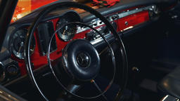 Steering wheel of classic retro or vintage car Live Action