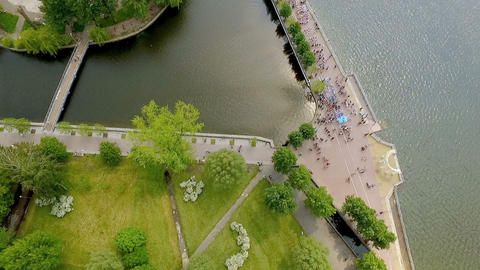 Aerial view of a beautiful park and lake with cool bridges and an island of love Footage