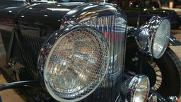 Black retro car front lights Footage