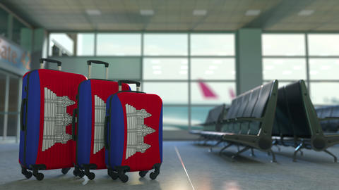 Travel suitcases with flag of Cambodia. Cambodian tourism conceptual 3D Live Action