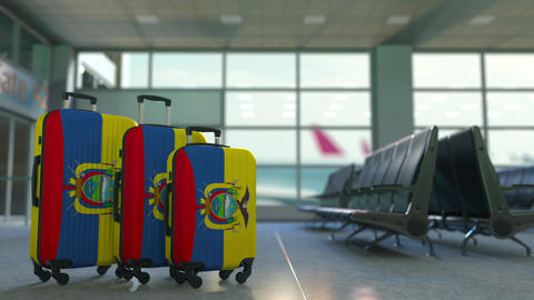 Travel suitcases with flag of Ecuador. Ecuadorian tourism conceptual 3D Live Action