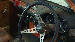Close-up shot of antique car Triumph steering wheel Footage