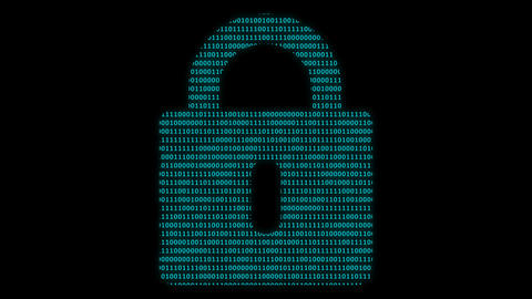 Padlock symbol at binary code background Animation