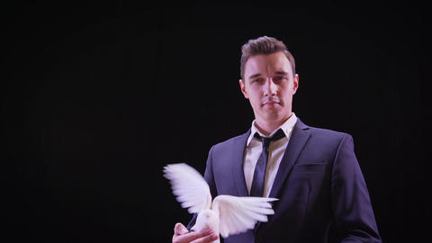 Young magician with a white dove. Young handsome brunette magician man in stage Live Action