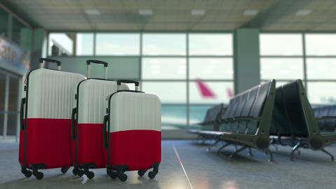 Travel suitcases with flag of Malta. Maltese tourism conceptual 3D animation Live Action