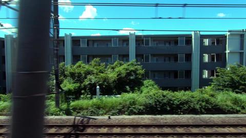 Japan Railway train window. Train window of Nakano-ku, Tokyo Footage