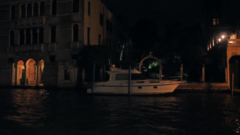Architecture of Venice at night View from the Central Canal Live Action