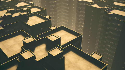 Overpopulated City Block Buildings Sunset Animation