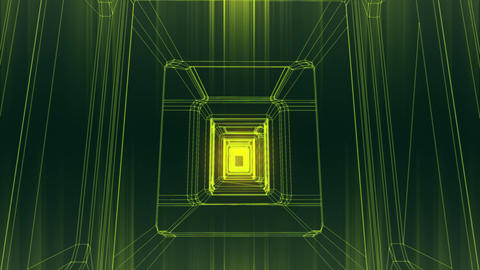 Sci-Fi Corridor System Futuristic Wireframe Design 8 Animation
