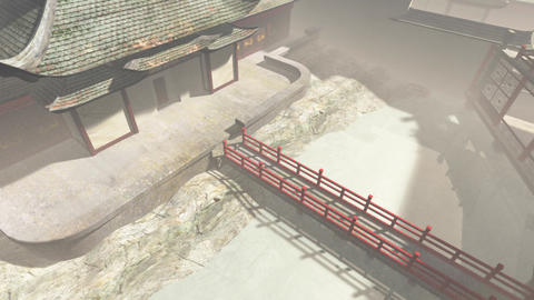 Traditional Chinese Inner Courtyard Ghostly 3D Animation Animation