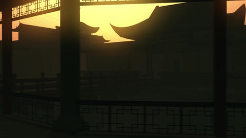 Traditional Chinese Inner Courtyard Silhouette 3D Animation Stock Video Footage