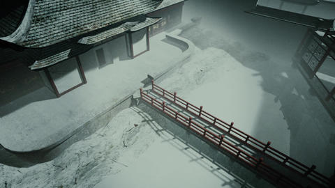 Traditional Chinese Inner Courtyard Sunset 3D Animation 3 Animation