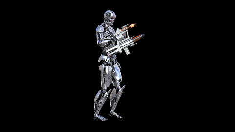 cyborg with weapons, transparent background Live Action