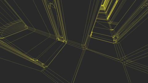 Sci-Fi Corridor System Futuristic Wireframe Design 9 Animation