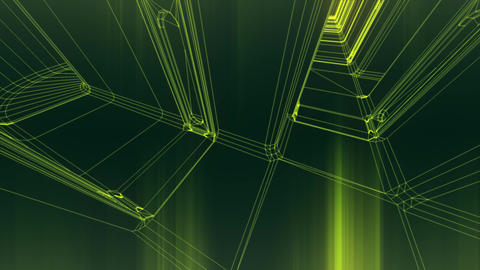 Sci-Fi Corridor System Futuristic Wireframe Design 10 Animation