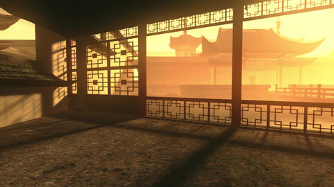 Traditional Chinese Inner Courtyard Sunset 3D Animation 6 Animation