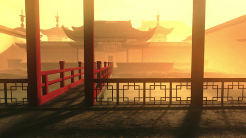 Traditional Chinese Inner Courtyard Sunset 3D Animation 6 Stock Video Footage