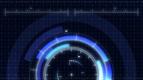 Futuristic game target. Aiming and military. Aim of sniper weapon. Neon digital display. Future Animation