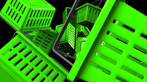 Green Shopping baskets on black background Animation