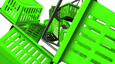 Green Shopping baskets on white background Animation