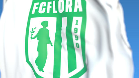Waving flag with FC Flora football club logo, close-up. Editorial loopable 3D Footage