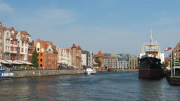 Gdansk city, Poland. View at Motlawa river and Soldek museum ship Live Action