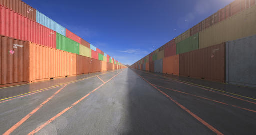 Endless stacks of cargo shipping containers Animation
