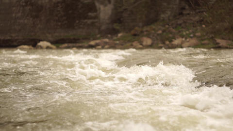 Pure Fresh mountain river water with rocks and splashes fast rapids Forest Footage