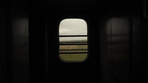 Train Window Glass. View from moving train side window Landscape Mountain Footage