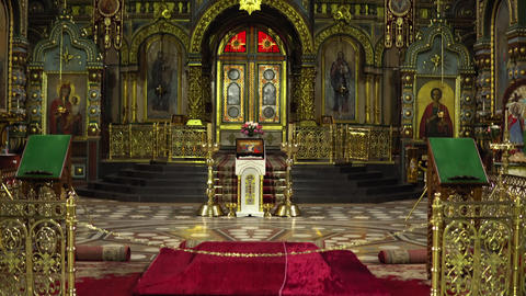 Ascension Cathedral view inside, the camera pans from bottom to top Footage