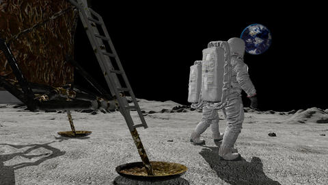 Astronauts discovers an alien ship on the moon. Conspiracy Theory Concept Live Action