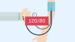 Blood pressure measuring (120/80). Cardiology 2D animation Animation