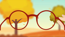 A short-sighted person and red glasses. Ophthalmology 2D animation Animation