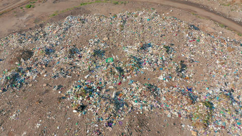 Aerial View. City Dump concept. Environmental pollution. Plastic bottles, bags Footage