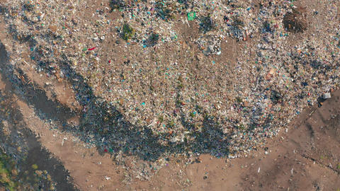 Aerial view. Garbage pile in trash dump. Environmental pollution from Footage