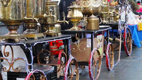 many brilliant metal samovars at the celebration of the city holiday Footage