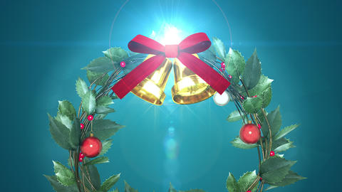 christmas wreath with shining light _ blue background CG動画