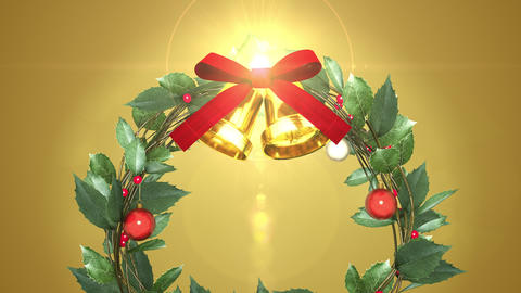 christmas wreath with shining light _ gold background CG動画