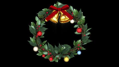 christmas wreath _ fixed point_ black background CG動画