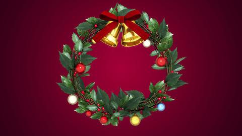 christmas wreath _ fixed point _ magenta background Animation