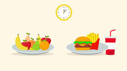 Healthy food and fast food (2d animation) Animation