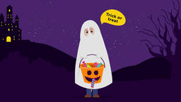 Halloween Ghost Cartoon: trick or treat. 2d animation Animation